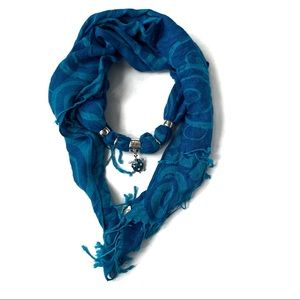 Pashmina and Silk Scarf w/ Gemstone Turtle Accent
